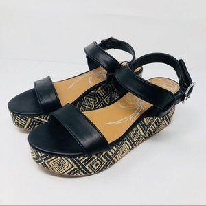 DV Black Platform Sandals Wedge Basket Weave 8.5